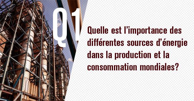 Quelle est l'importance des differentes sources d'energie dans la production et la consommation mondiales?