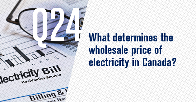 What determines the wholesale price of electricity in Canada?