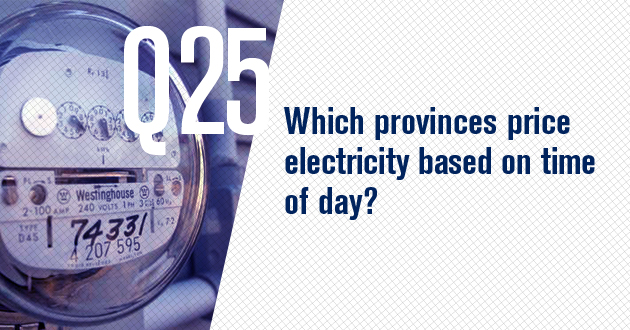 Which provinces price electricity based on time of day?