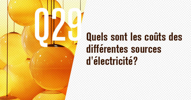 Quels sont les couts des differentes sources d'electricite?