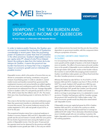 Viewpoint – The Tax Burden and Disposable Income of Quebecers