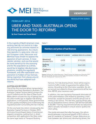 Viewpoint – Uber and Taxis: Australia Opens the Door to Reforms