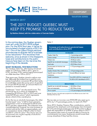 Viewpoint – The 2017 Budget: Quebec Must Keep Its Promise to Reduce Taxes