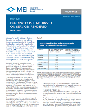 Viewpoint – Funding Hospitals Based on Services Rendered