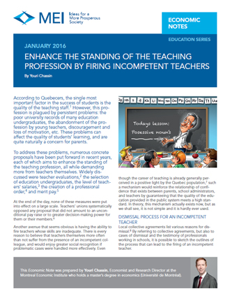 Enhance the Standing of the Teaching Profession by Firing Incompetent Teachers