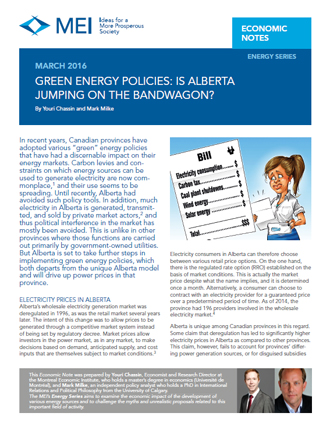 Green Energy Subsidies: Is Alberta Jumping on the Bandwagon?