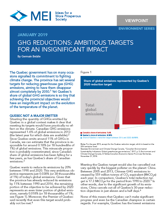 GHG Reductions: Ambitious Targets for an Insignificant Impact