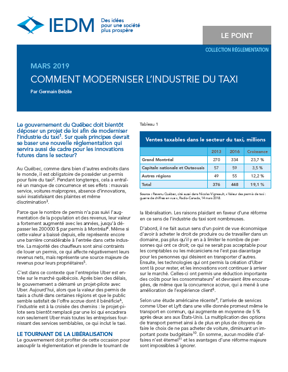 Comment moderniser l'industrie du taxi