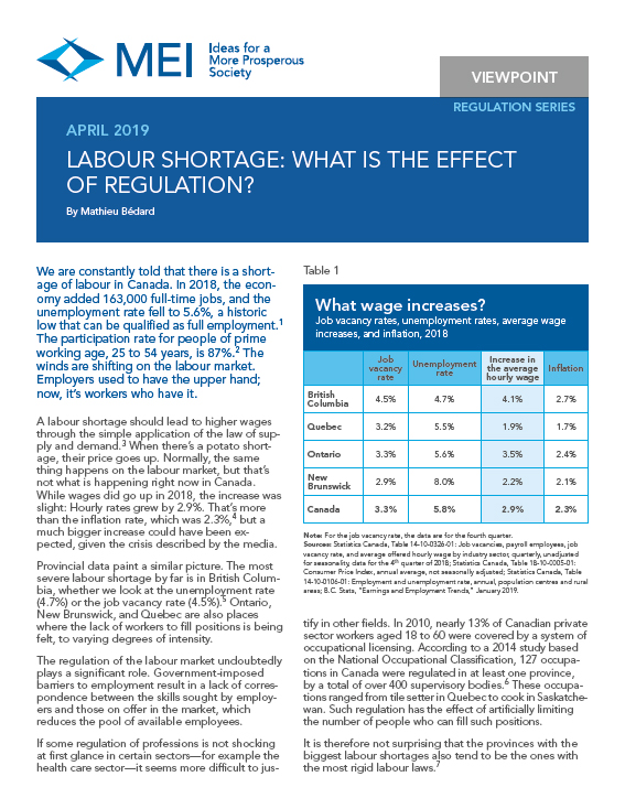 Labour Shortage: What Is the Effect of Regulation?