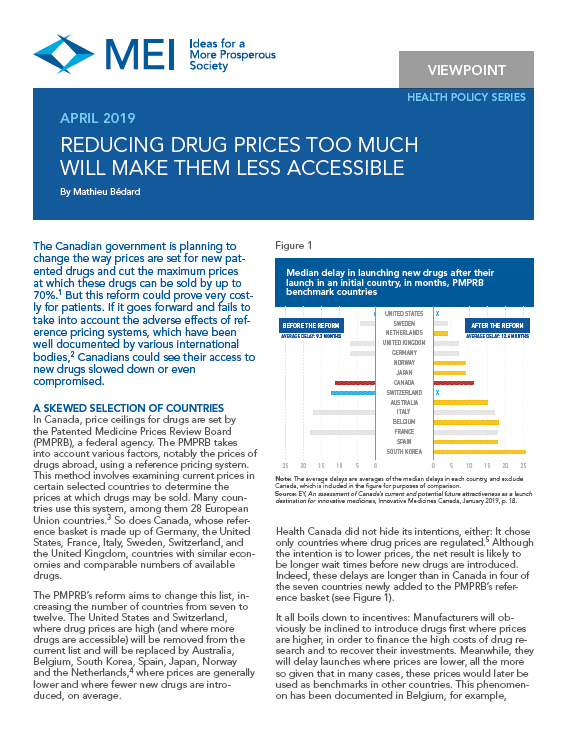 Reducing Drug Prices Too Much Will Make Them Inaccessible