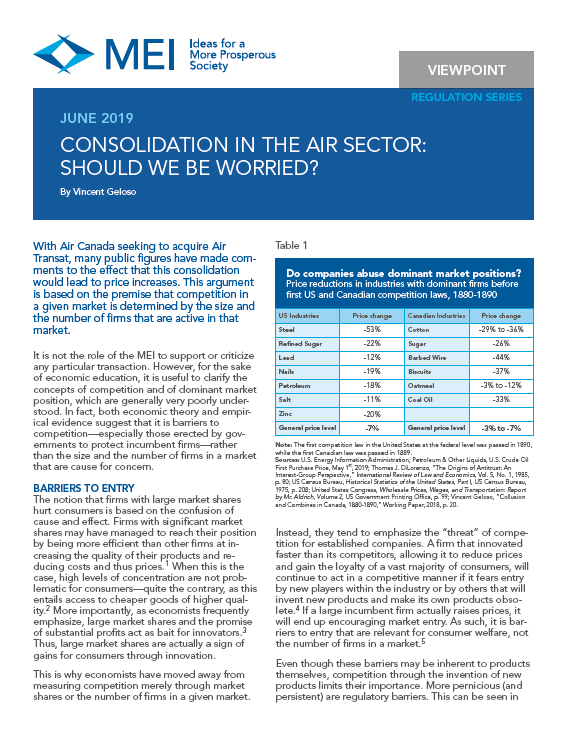 Consolidation in the Air Sector: Should We Be Worried?