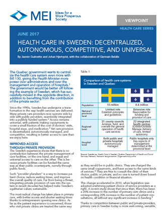 Viewpoint – Health Care in Sweden: Decentralized, Autonomous, Competitive, and Universal