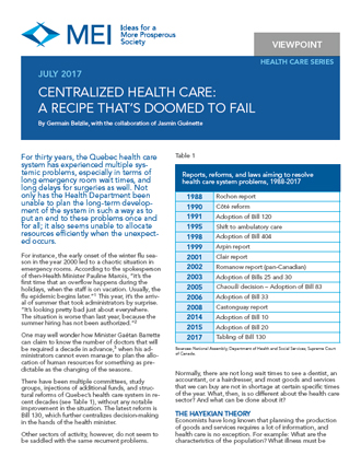 Viewpoint – Centralized Health Care: A Recipe That's Doomed to Fail