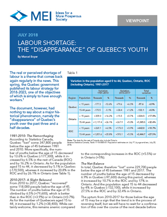 "Labour Shortage: The ""Disappearance"" of Quebec's Youth"