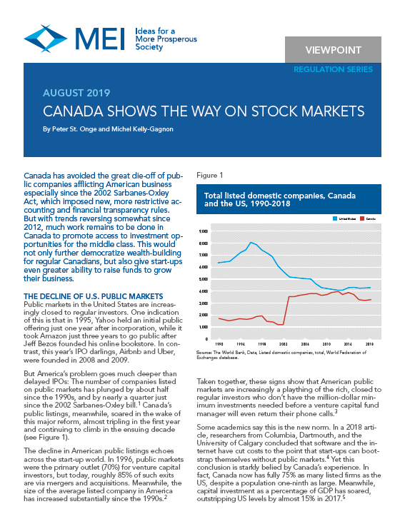 Canada Shows the Way on Stock Markets