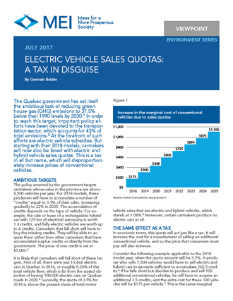 Viewpoint – Electric Vehicle Sales Quotas: A Tax in Disguise