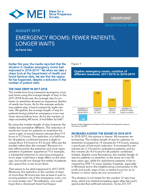Emergency Rooms: Fewer Patients, Longer Waits