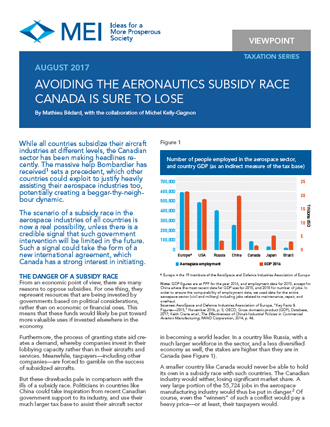 Viewpoint – Avoiding the Aeronautics Subsidy Race Canada Is Sure to Lose