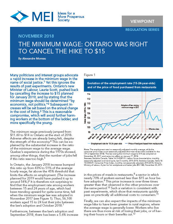 The Minimum Wage: Ontario Was Right to Cancel the Hike to $15