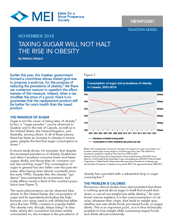 Taxing Sugar Will Not Halt the Rise in Obesity