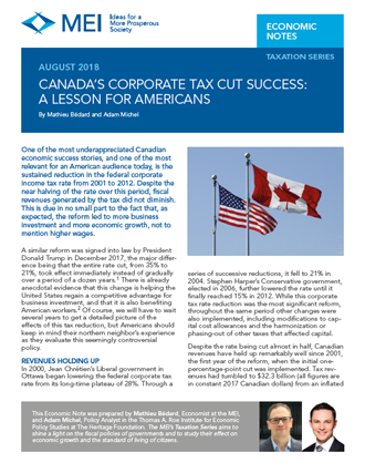 Canada's Corporate Tax Cut Success: A Lesson for Americans (en anglais seulement)