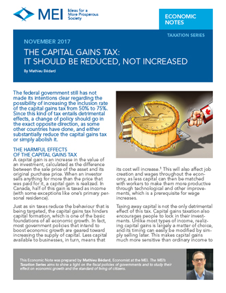 The Capital Gains Tax: It Should Be Reduced, Not Increased