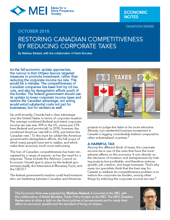 Restoring Canadian Competitiveness by Reducing Corporate Taxes